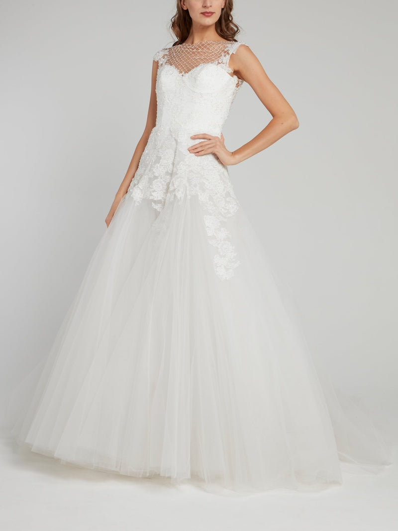 White Net Mesh Panel Tulle Bridal Gown