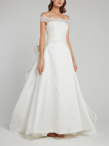 White Off-The-Shoulder Ruffle Back Bridal Gown