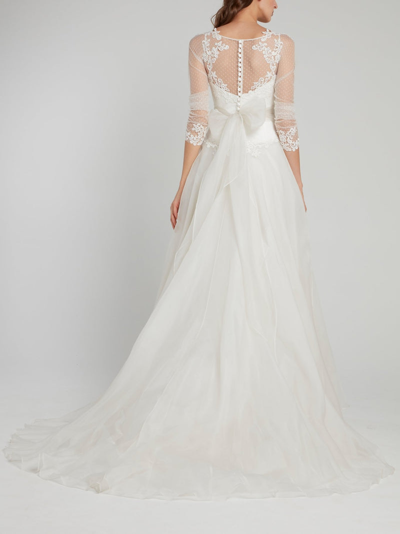 White Sheer Overlay A-Line Bridal Gown