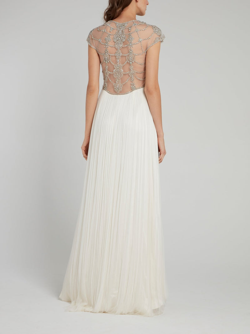 Crystal Detail Overlay Pleated Bridal Dress