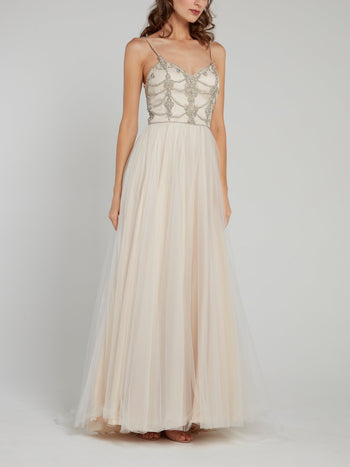 Multi-Stud Sheer Overlay Bridal Dress