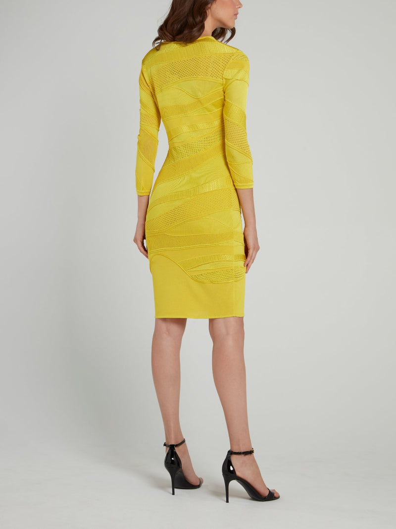 Chartreuse Lace Panel Sheath Dress