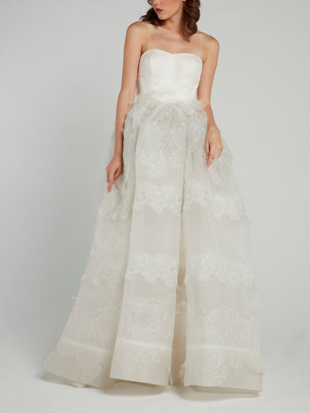 White Lace Overlay Strapless Bridal Gown