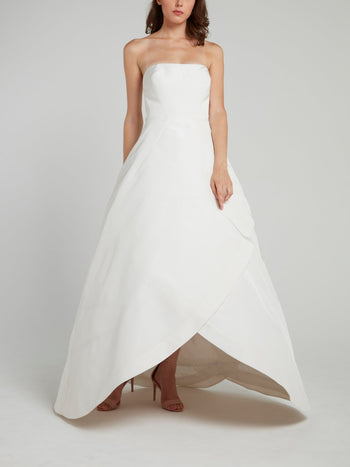 White Strapless Wrap Ball Gown