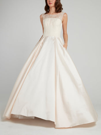 Bateau Empire Ball Gown Bridal Dress