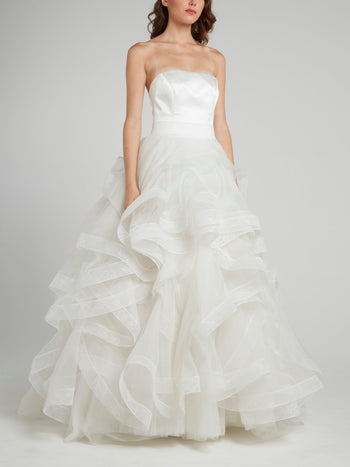 White Frill A-Line Bridal Gown