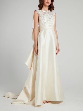 Crystal Studded Ruffle Back Bridal Gown