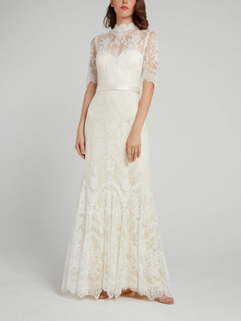 White Back Button Half Sleeve Lace Bridal Dress