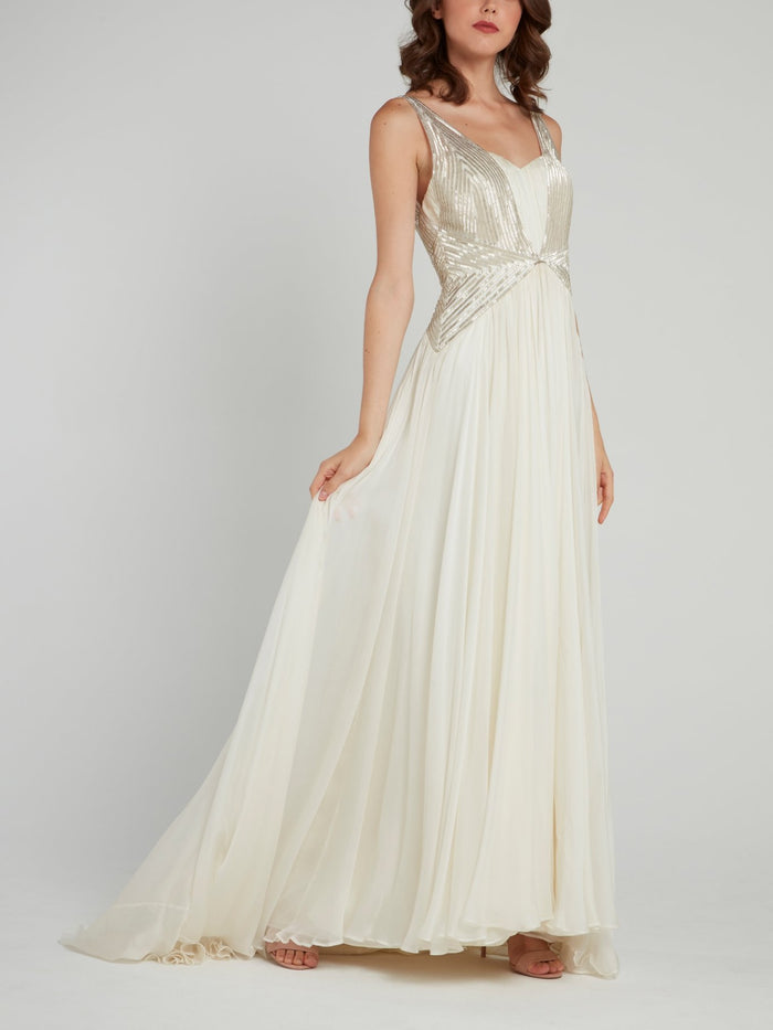 White Embellished Empire Waist Bridal Dress