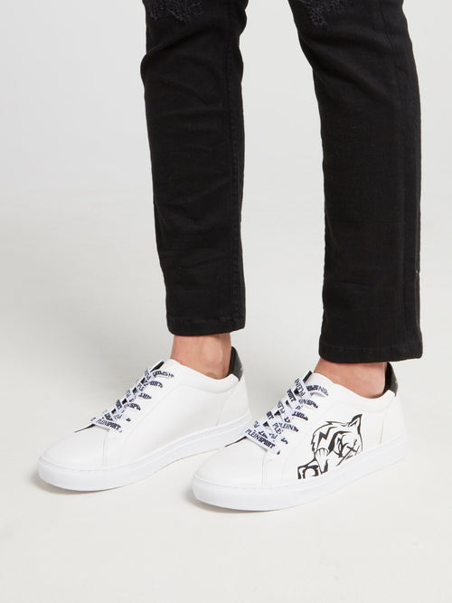 White Tiger Head Print Low Top Sneakers