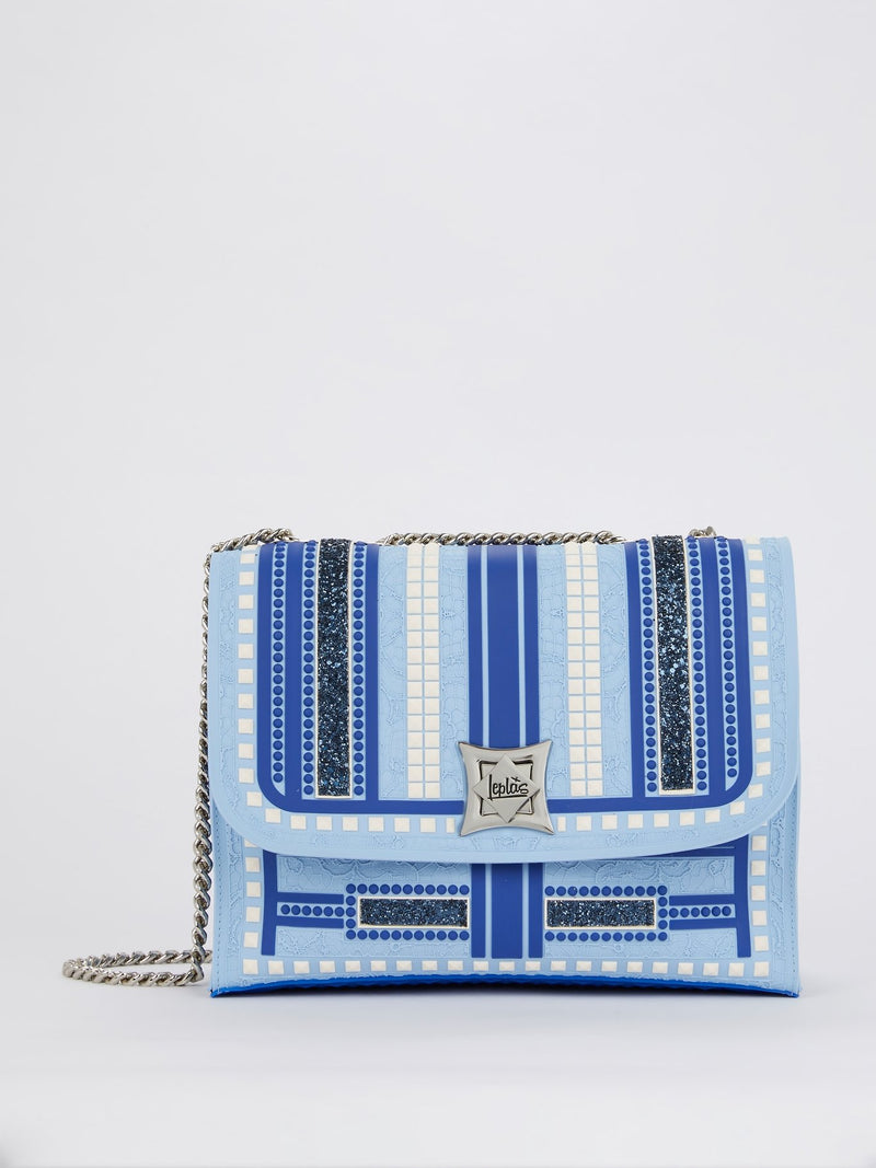 Blue Kassandra Studs Shoulder Bag
