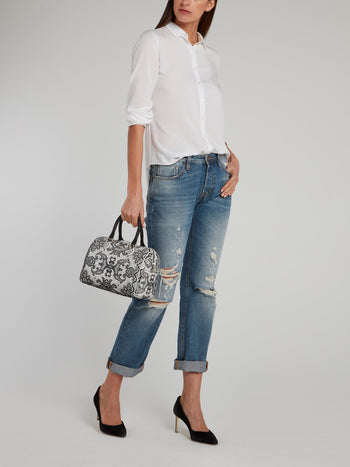 Medium Bauletto Lace Top Handle Bag