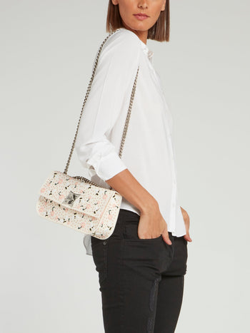 Off White Elide Bee Floral Shoulder Bag