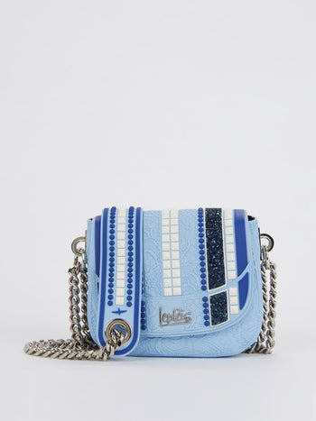 Blue Mini Dafne Studs Shoulder Bag