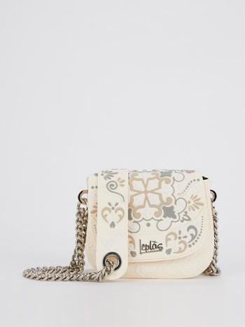 Beige Mini Dafne Azulejos Shoulder Bag