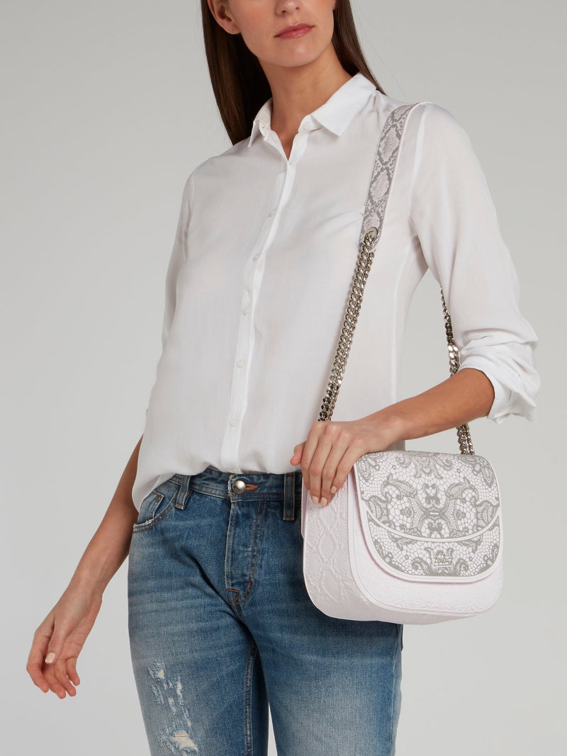 Pink-Grey Big Dafne Lace Shoulder Bag