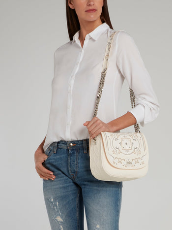 Beige Big Dafne Azulejos Shoulder Bag