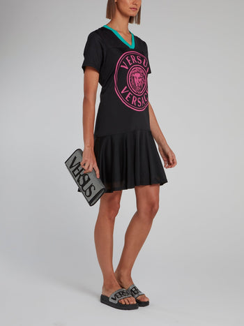 Logo V-Neck Frill Jersey Dress