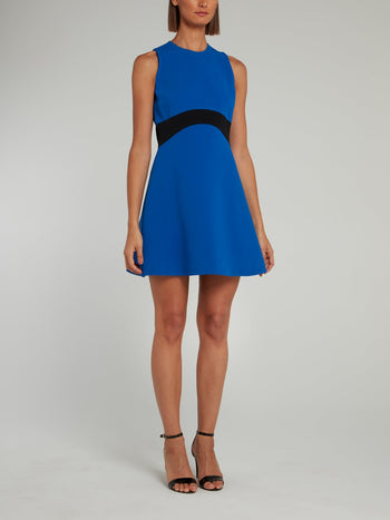 Blue Contrast Waistband A-Line Mini Dress