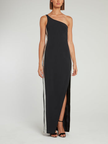 Black Sequin Side Panel One Shoulder Gown
