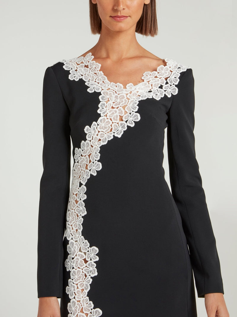 Black Floral Lace Detailed Mini Dress