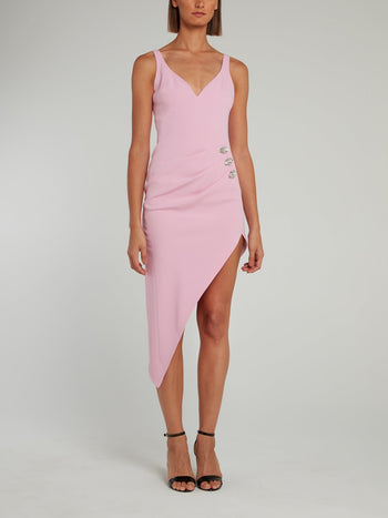 Sweetheart Neckline Crystal Embellished Ruched Midi Dress