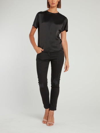 Black Sequin Panel Short Sleeve Satin Shirt