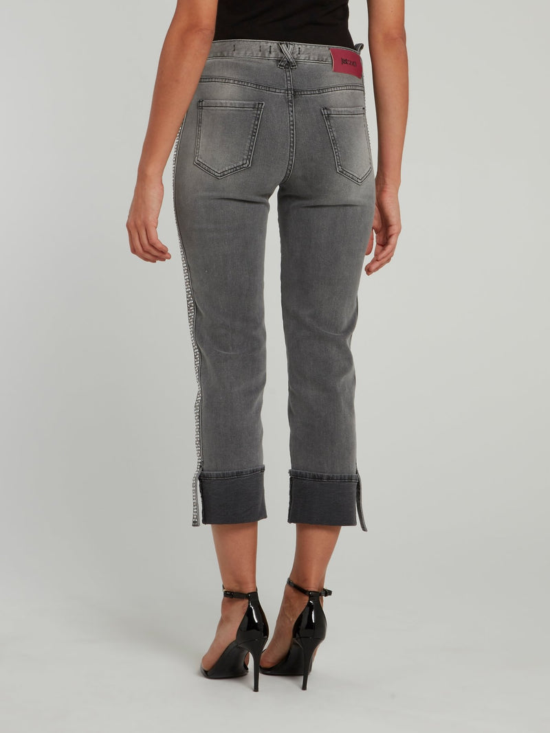 Grey Side Stud Cropped Folded Jeans