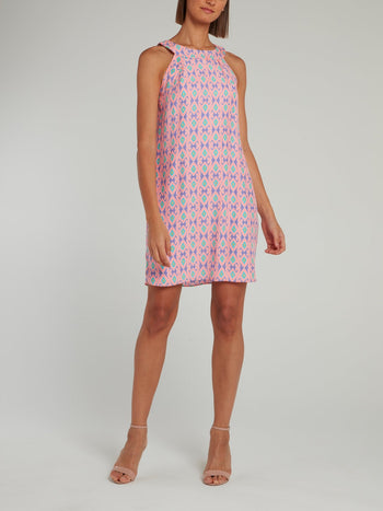 Pink Back Keyhole Silk Shift Dress