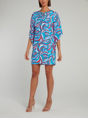 Blue Tie Half Sleeve Shift Dress