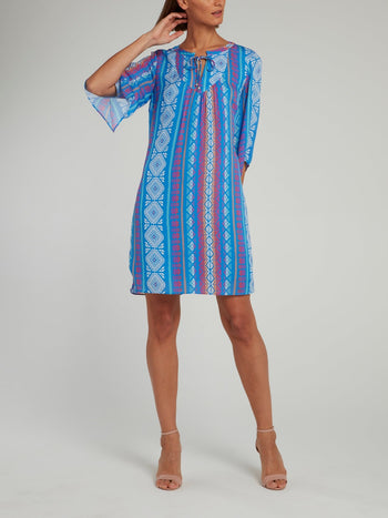 Blue Jacquard Print Half Sleeve Shift Dress