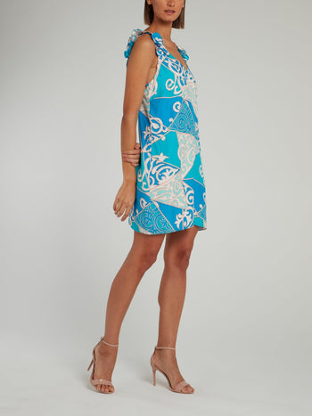 Blue Ruffle Strap Silk Shift Dress