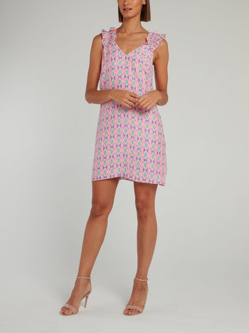 Pink Ruffle Strap Silk Shift Dress