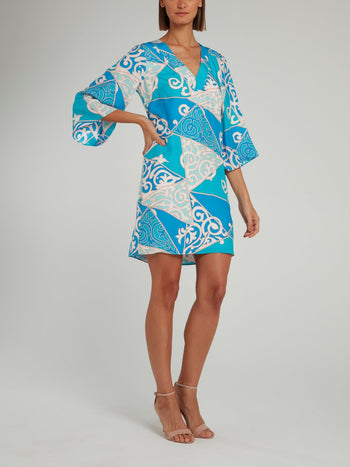 Blue Jacquard Print V-Neck Shift Dress