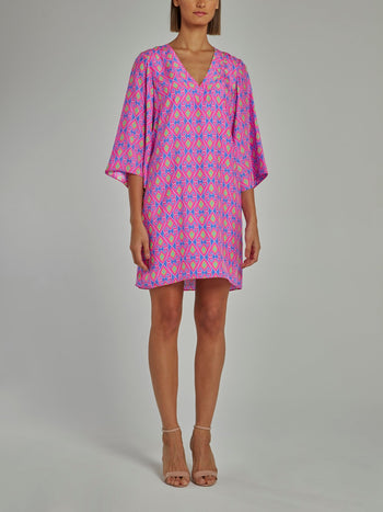 Purple Bell Sleeve Shift Dress