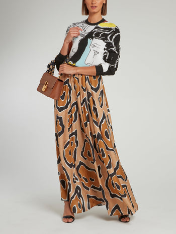 Brown Leopard Effect High Waist Maxi Skirt