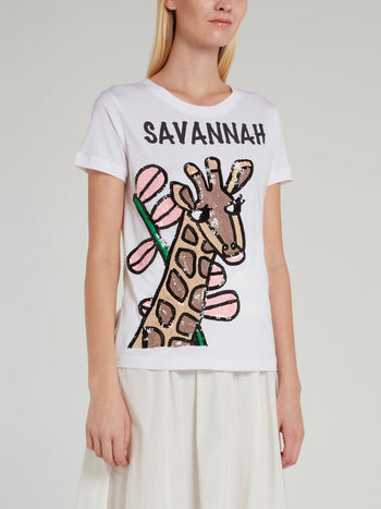 Giraffe Sequin Embellished Cotton T-Shirt