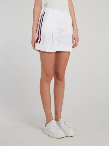 White Side Stripe Trapeze Shorts