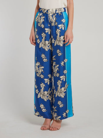 Blue Floral Sketch Silk Palazzo Pants