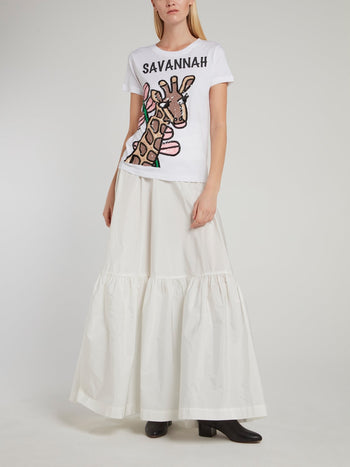 White Tie Side Flared Maxi Skirt