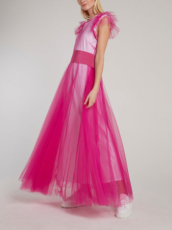 Pink Cap Sleeve Tulle Maxi Dress