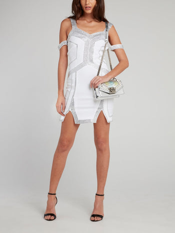 White Geometric Studded Multi-Strap Mini Dress