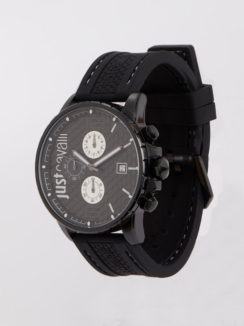 Black Rubber Strap Chronograph Watch