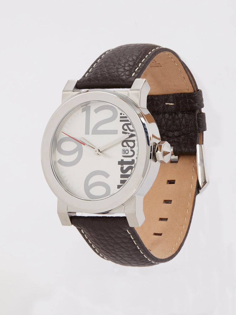 White Dial with Brown Leather Strap Logo Watch