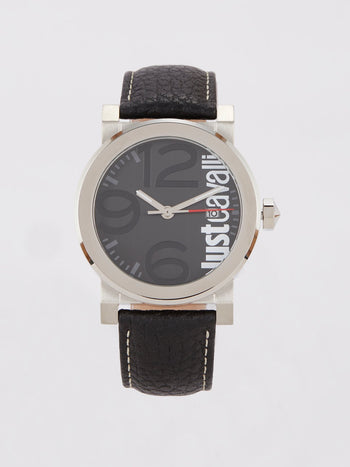 Black Leather Strap Logo Watch