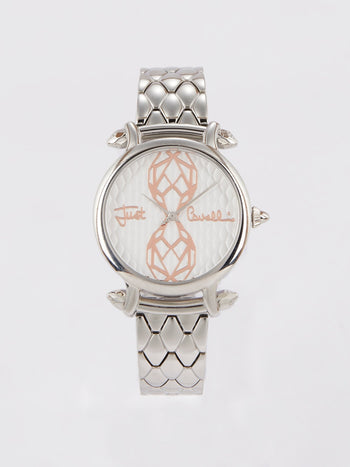 Silver Tone Steel Dress Watch