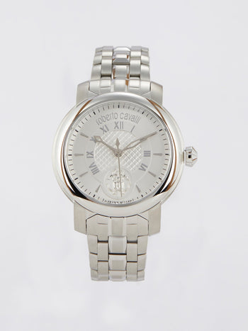 Silver Tone Elegant Logo Steel Watch