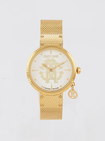 Gold Tone with Mother of Pearl Dial Logo Watch