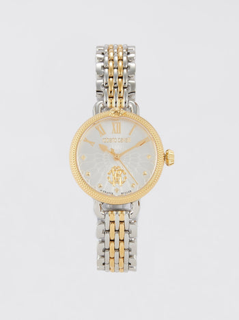 Pearl Dial Logo Two Tone Watch