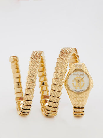 Gold Snake Spiral Bracelet Watch